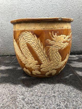 Vintage Carved Dragon Flower Pot (23cm Dia)