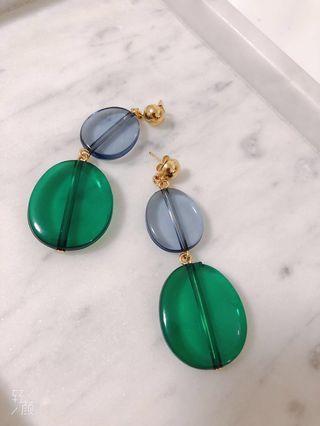Green acrylic earring