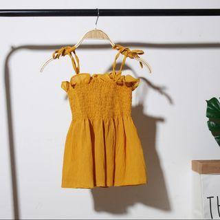 Mustard babydoll spag tie up top