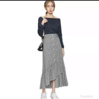 Checkered Midi Button Down Gingham Skirt
