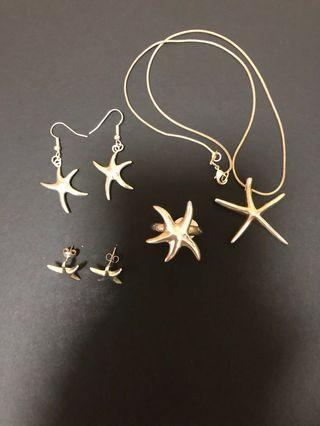 5 Pieces Star Design 925 Sterling Silver Set