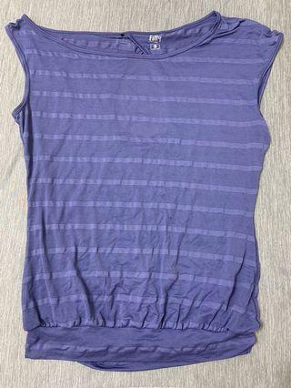 iFIT 短袖不對稱運動外搭紫色上衣