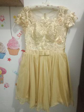 Evening Gown Dress Brukat Gold