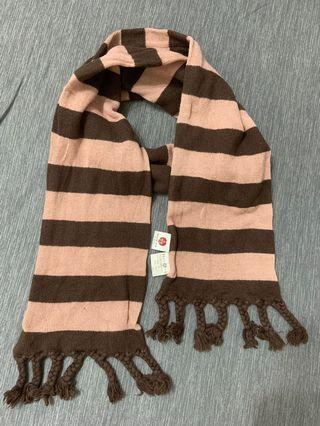 粉咖雙色橫紋圍巾
