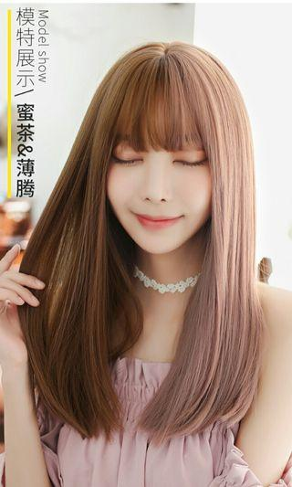 (NO INSTOCKS!)Preorder korean lolita natural Air bangs two tone gradient straight long wig*waiting time 15 days after payment is made*chat to buy to order