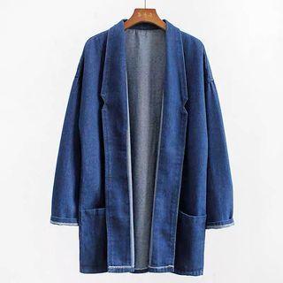 🚚 Dark blue denim jacket with pockets