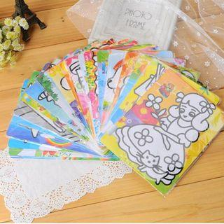 10 X DIY Sand Art drawing painting Kid drawing coloring Kids school stationery supplies toys - Each different drawings