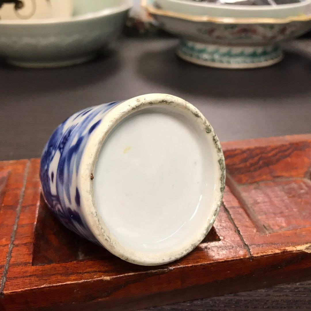 清晚青花山水紋小瓶水盂#3090 4*7.5cm左右