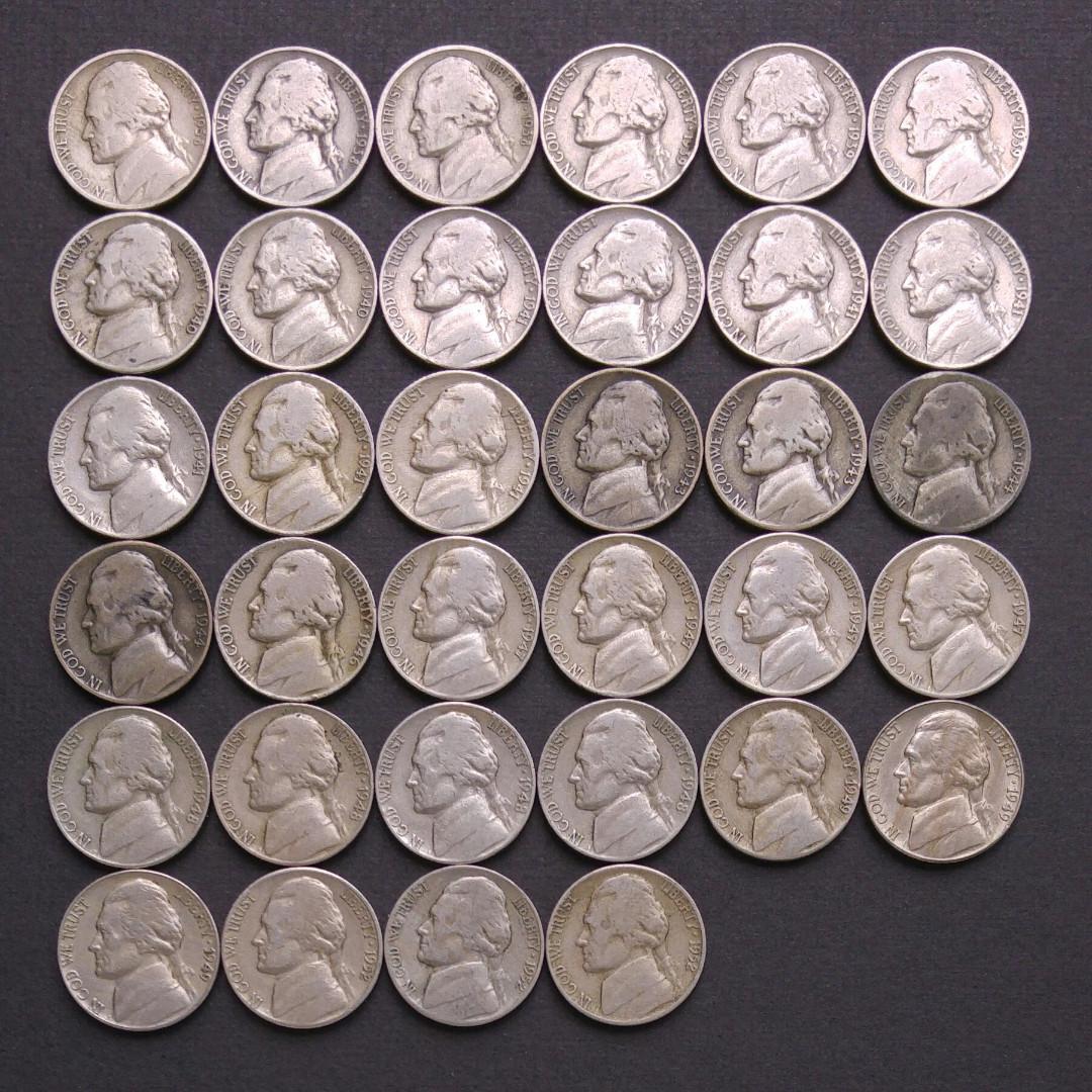 美國5美分硬幣 全部34枚(包括四枚銀幣)