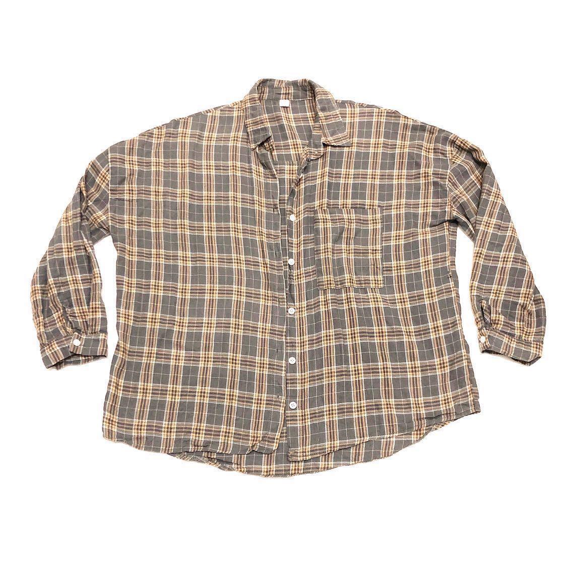 灰黃格子襯衫💕(點開有更多圖)