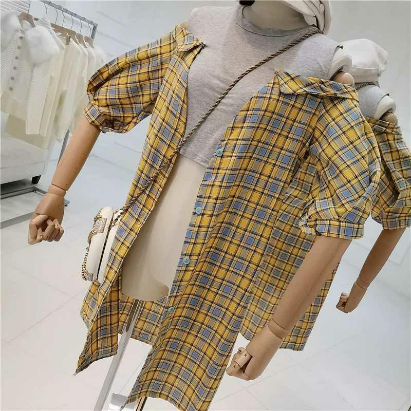 露肩背心拼接短袖高腰修身细带格子假两件连衣裙