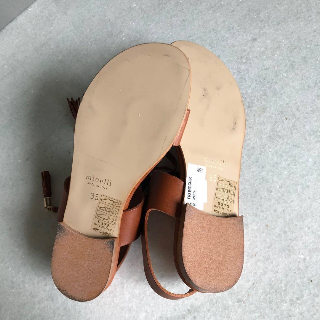 全新正品 Minelli 義大利真皮駝色涼鞋 5 5.5 22.5 23 sandal 咖啡色 簡約設計 Nine West Italy
