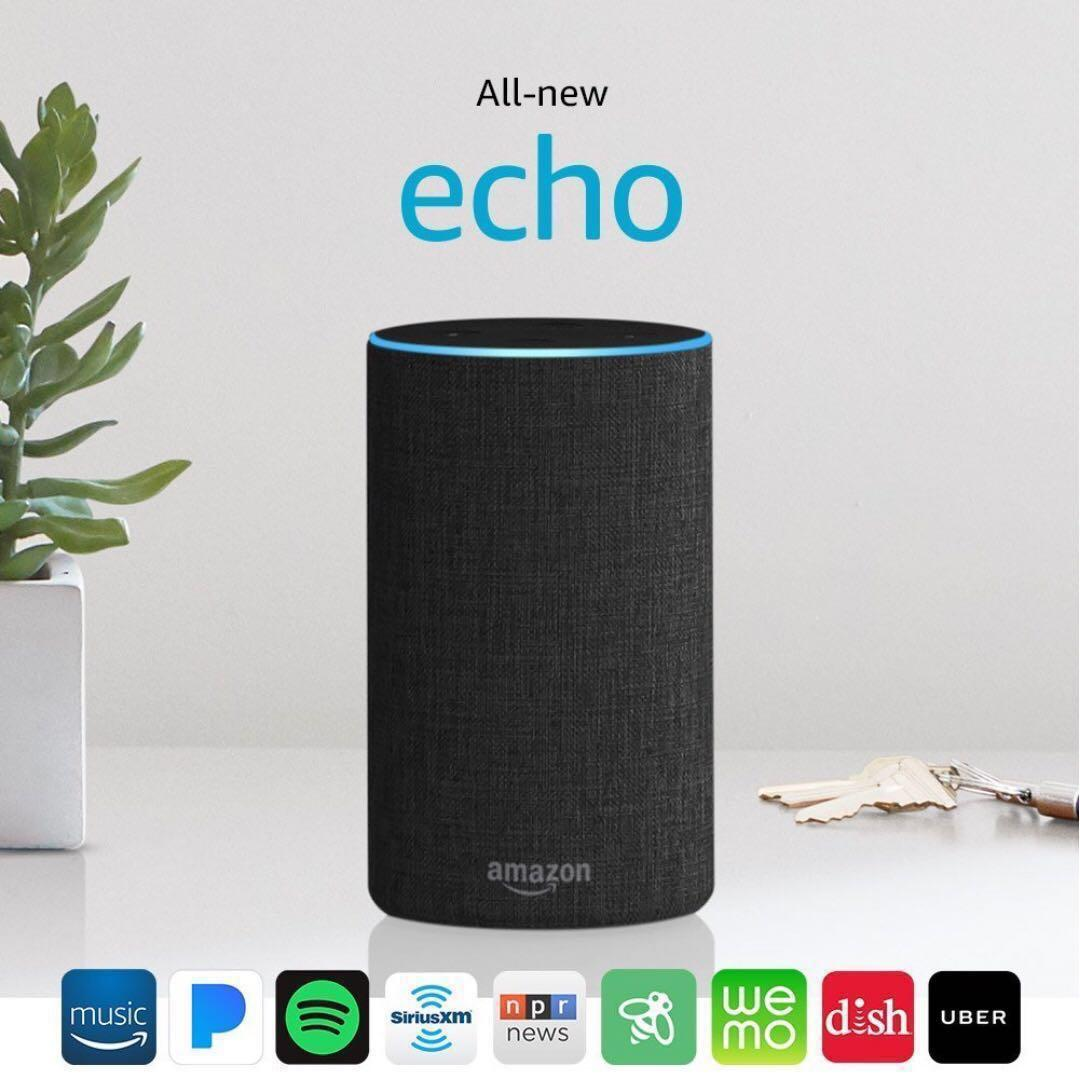All-new Echo (2nd Generation) with improved sound, powered by Dolby, and a new design – Charcoal Fabric