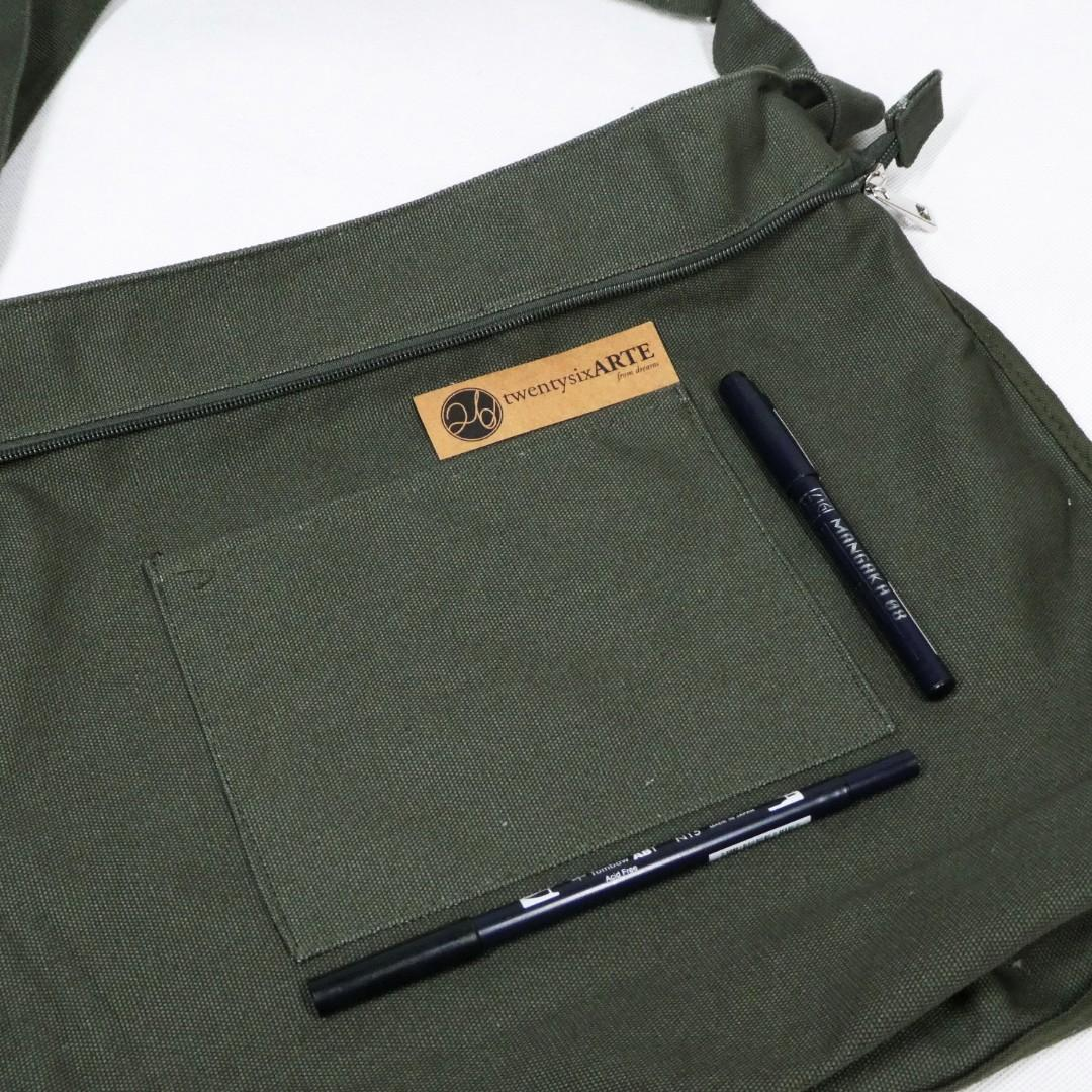 ARTE Canvas Sling Bag | Army Green | Cross-body