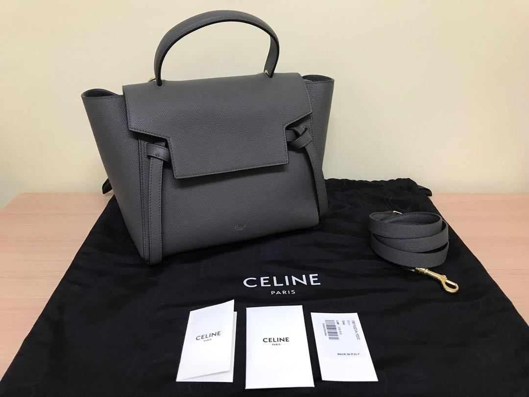 Authentic Celine Micro Belt Bag Grey Luxury Bags Wallets On Carousell