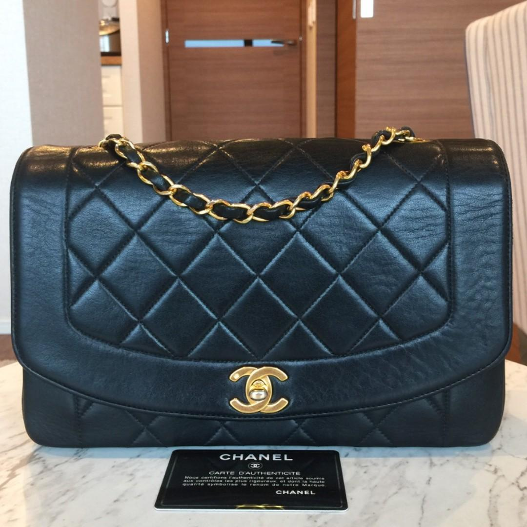 "Authentic chanel vintage diana medium 10"" flap black bag"