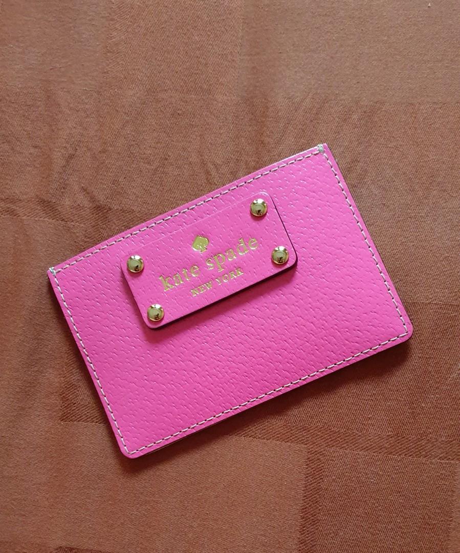 Authentic Kate Spade Wellesley Graham Card Holder bgnvillea - Dompet Kartu Wanita Pink - Tempat Kartu