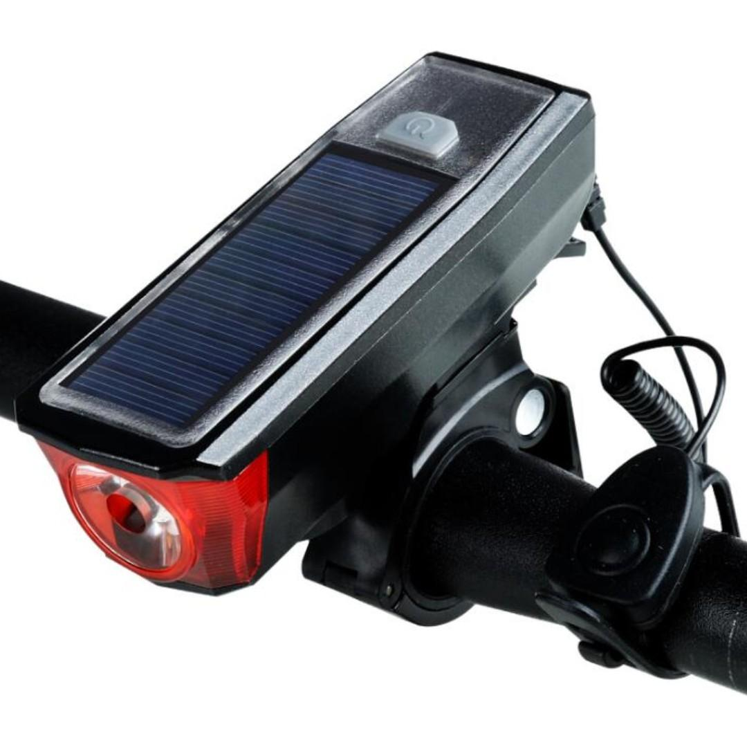 Bike Light Set And Horn Solar Powered USB Rechargeable 4 Mode Bicycle Headlight