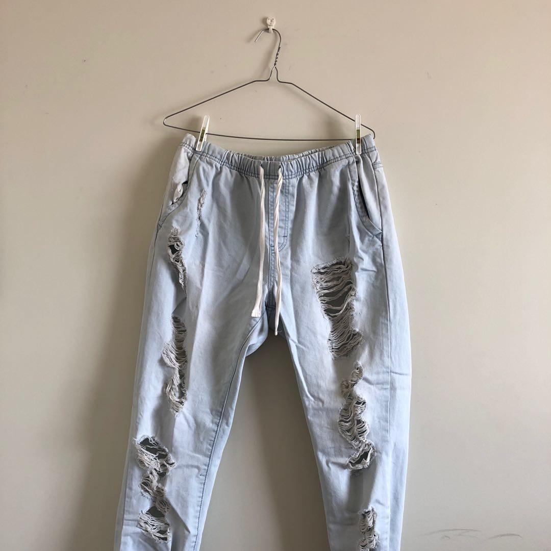 BoyFriend RIPPED Denim Cuff Comfy Jeans  Size 10-12 Au