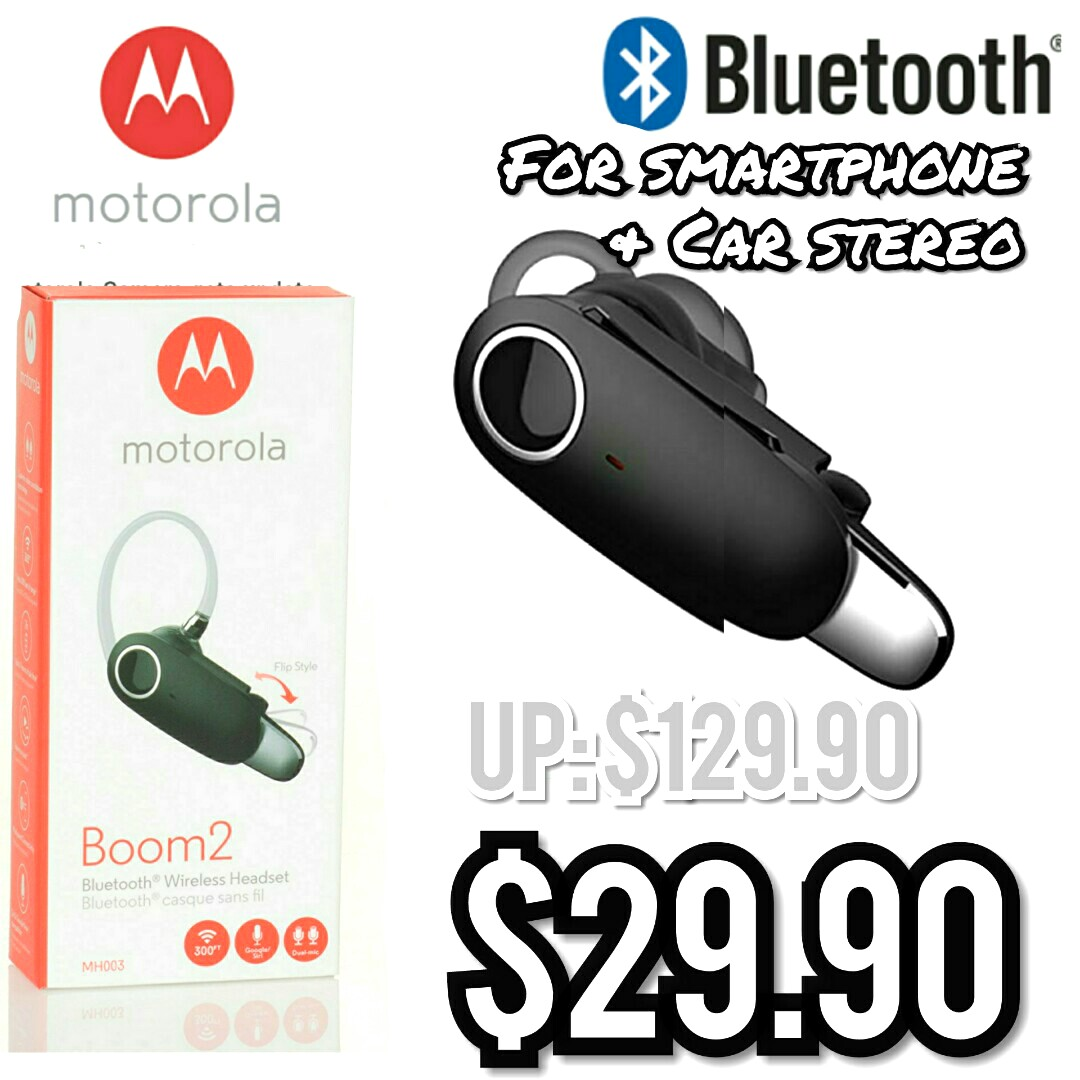 9c83a2f0359 Brand New Motorola Boom 2 Bluetooth Wireless Headset for smartphone ...