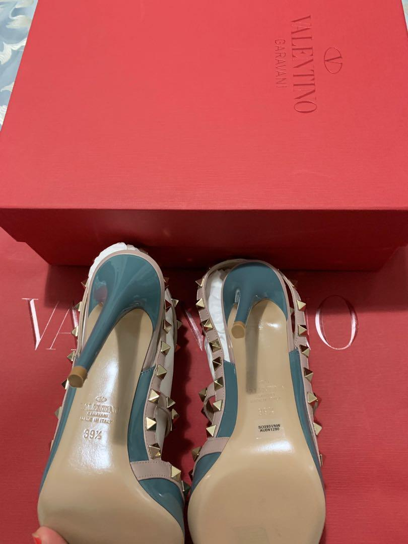 Brand New Valentino's- Teal Rockstud 100 Patent Leather Pumps- Never Worn-New in bags size= 39.5