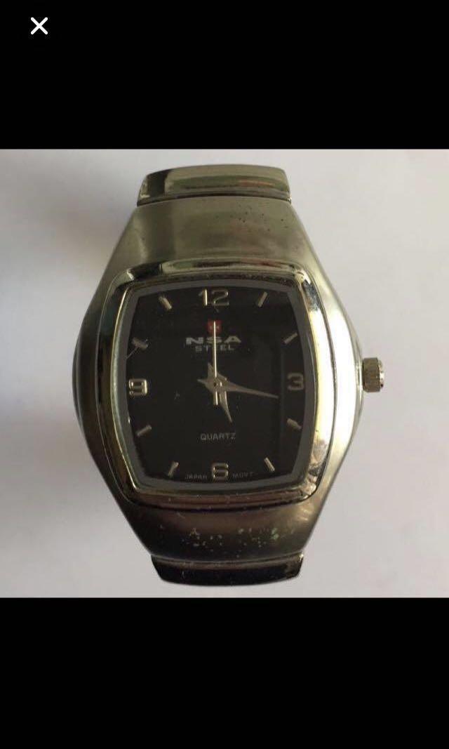 CLEARANCE SALES {Collectibles Item - Vintage Watch} Vintage NSA STEEL Bread JAPAN MOVT 3ATM Unisex Quartz Wrist Watch