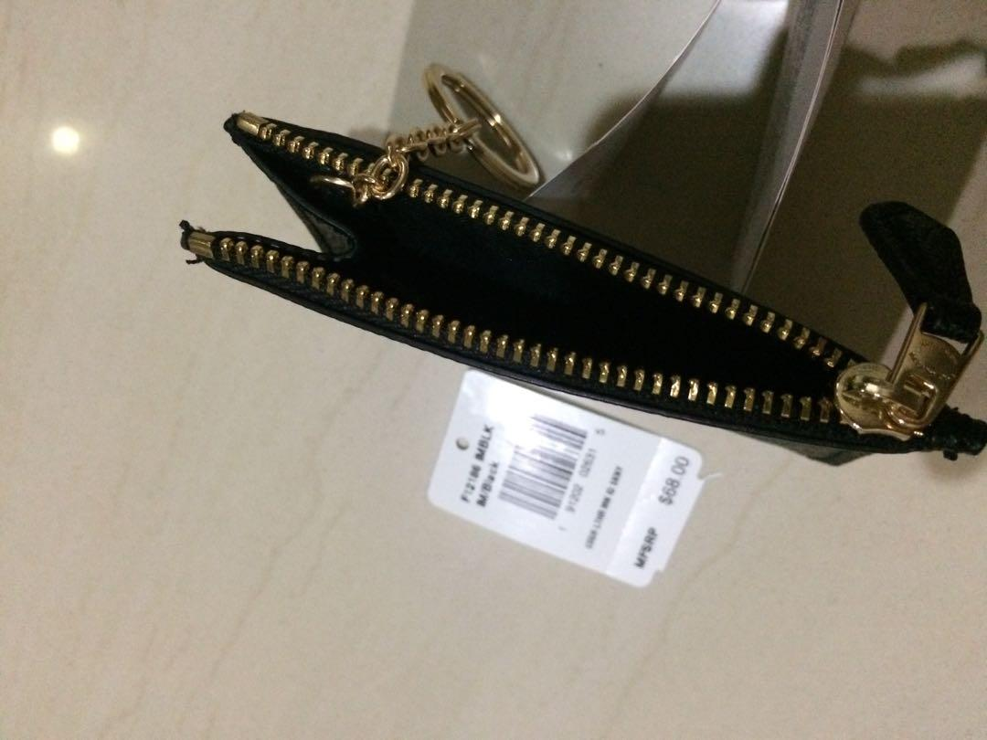 Coach dompet kartu kunci /  id keys wallet skinny mini F12186 original 100% with tag $68 USA  Ring Gold hard wear  ( GHW )  Colour black / hitam