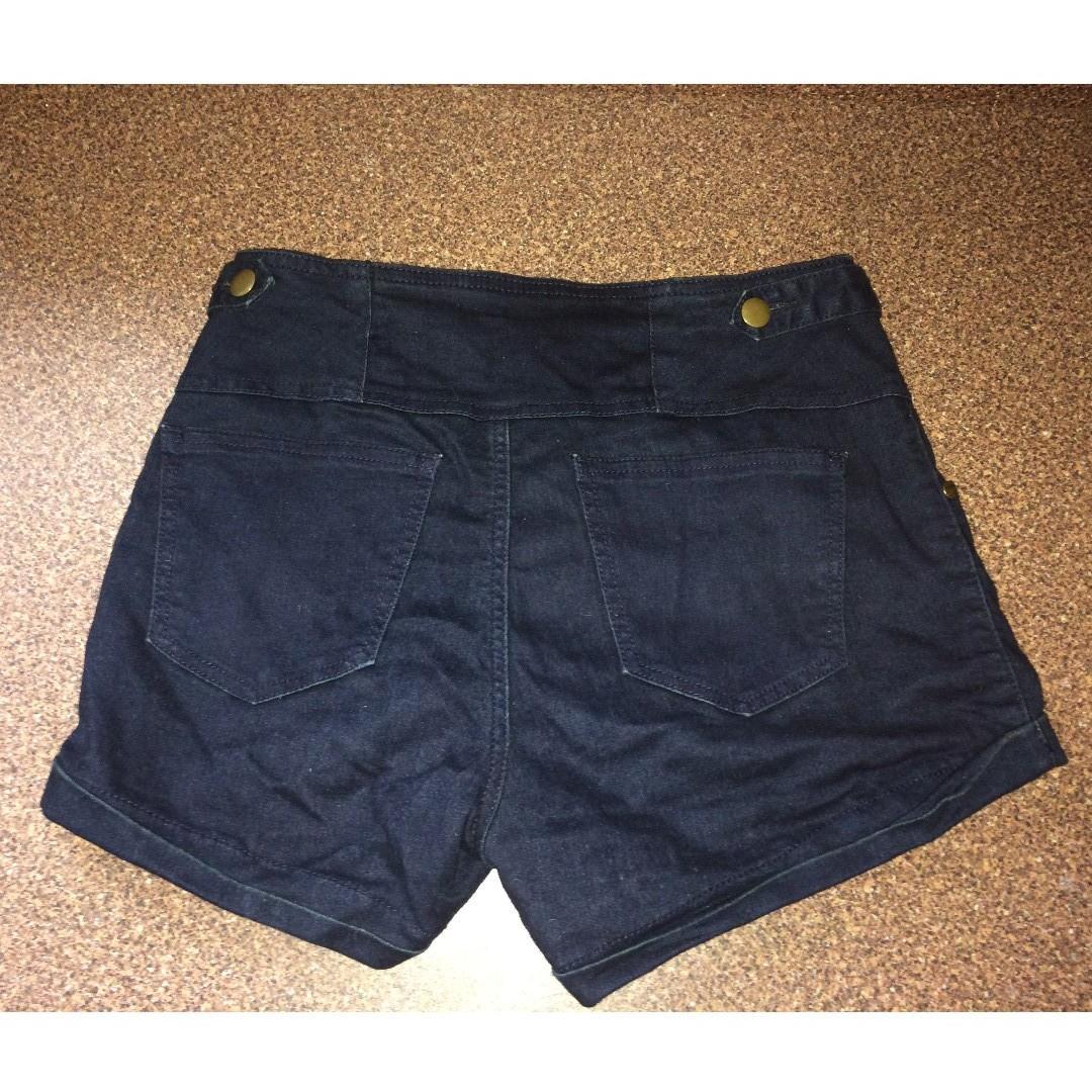 Dark Blue three button High-Waisted Denim Shorts Dotti Size 10