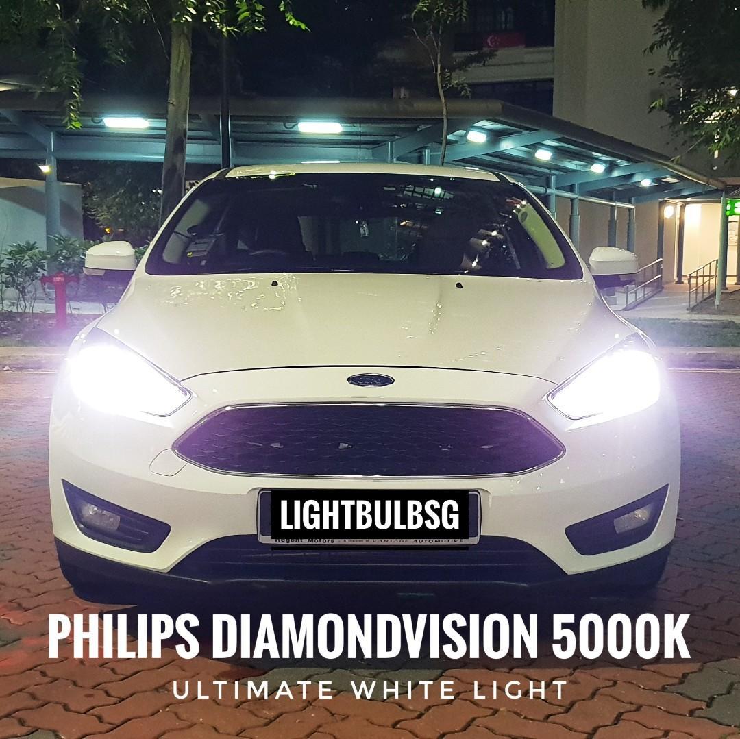 Ford Focus - H7 philips diamondvision white car headlight