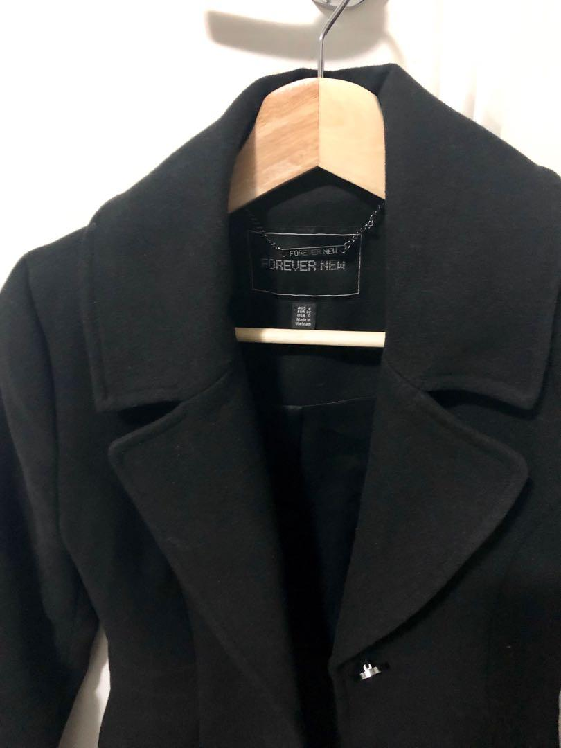 Forever New black size 4 trench coat