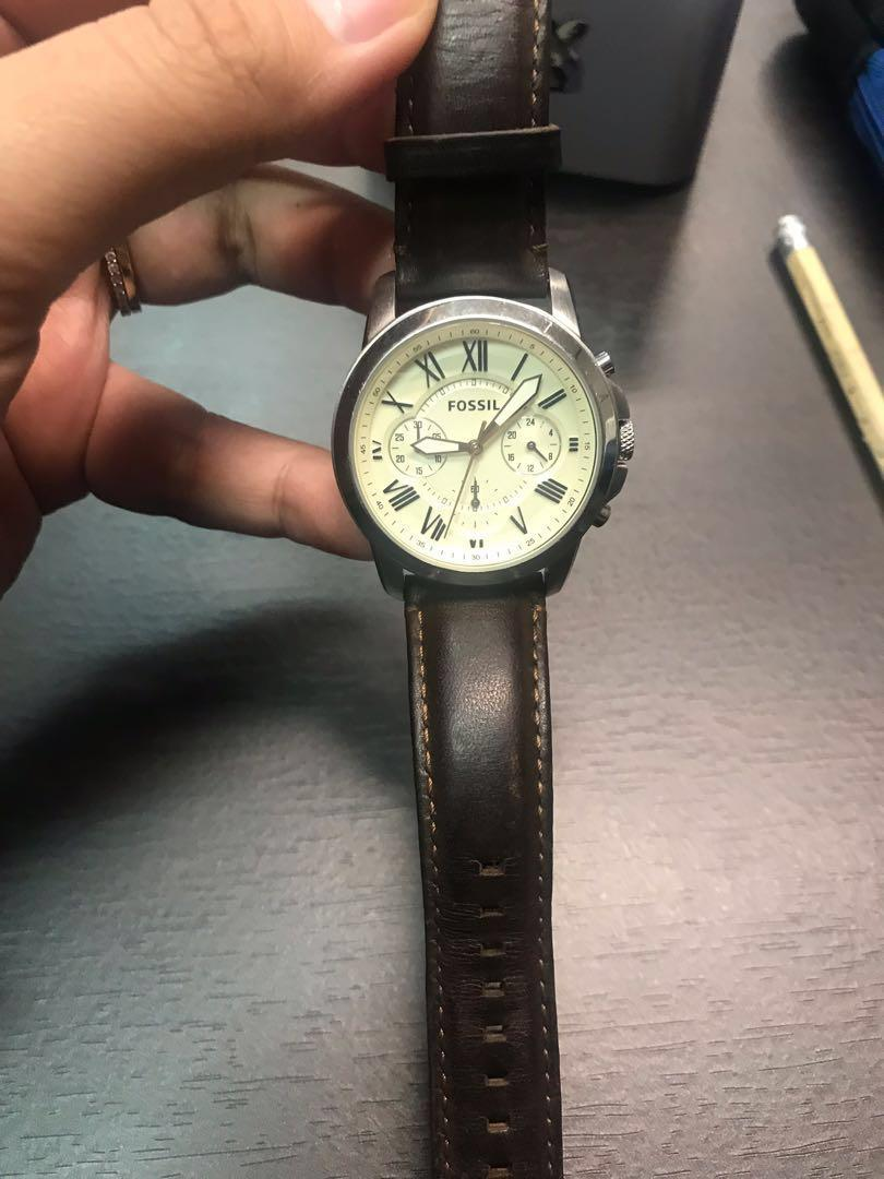 Fossil watch genuine leather dark brown