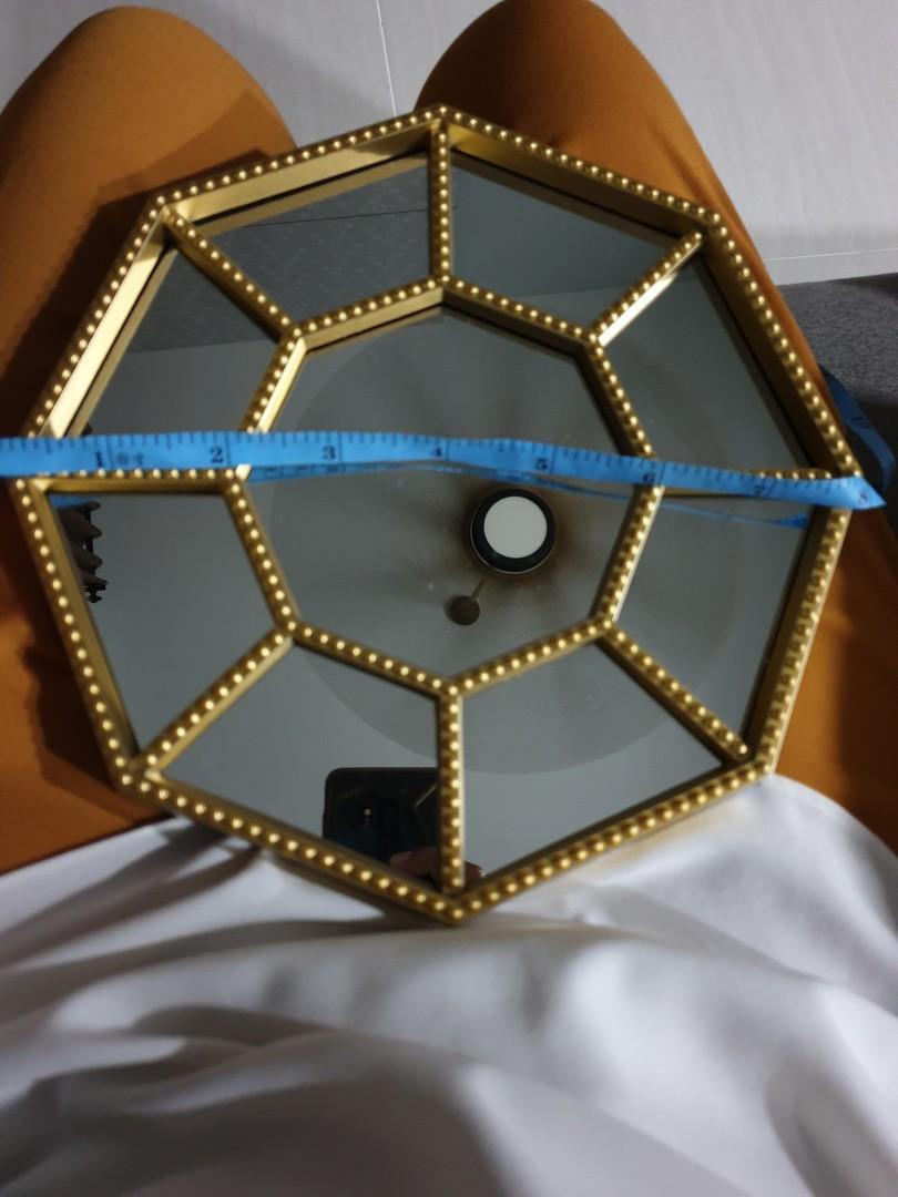 Hexagon gold mirror deco hari raya fengshui
