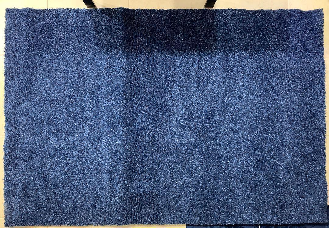 IKEA Alhede carpet rug, blue, high pile, 133x195cm