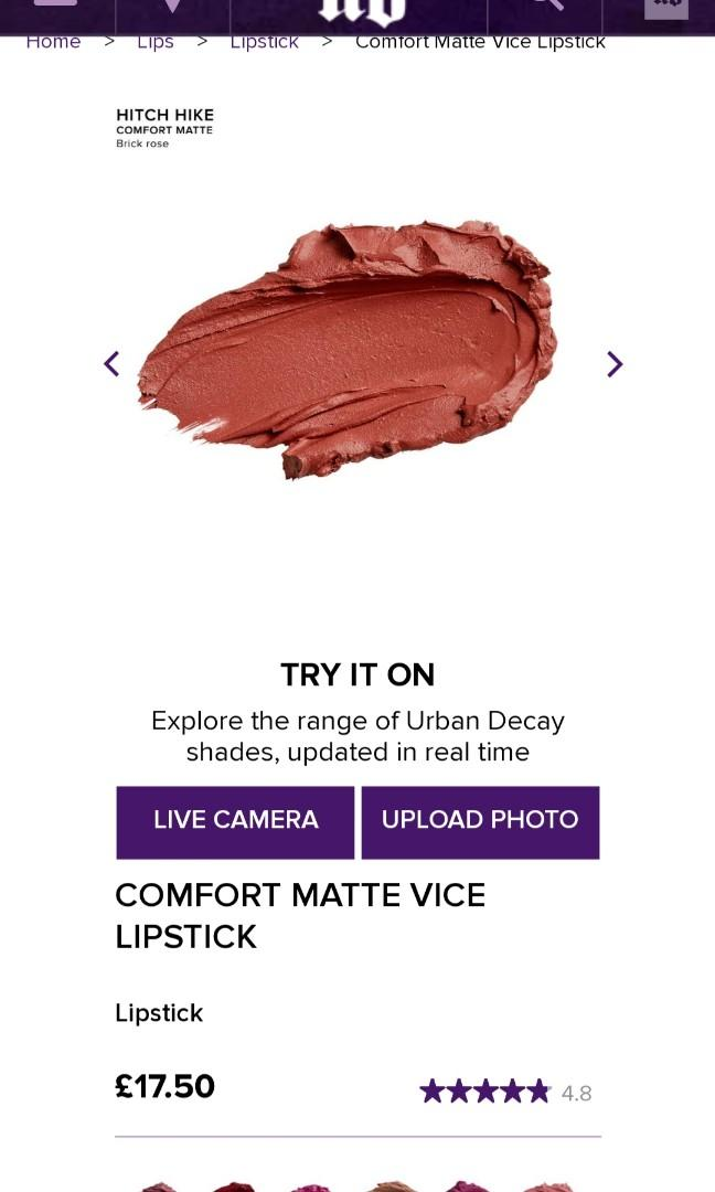 Lipstick urban decay comfort matte shade (hitch hike)