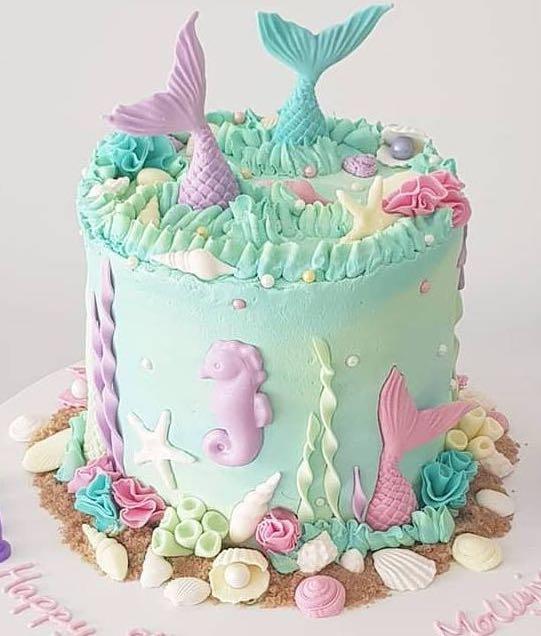 Superb Mermaid Under The Sea Birthday Celebration Cake Custom Cakes Food Funny Birthday Cards Online Overcheapnameinfo