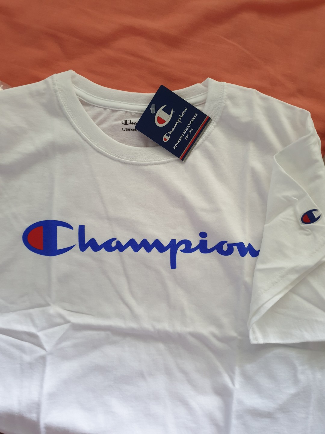 cd42d9b8ca23 New Authentic Champion Tee Navy blue and White avail, Men's Fashion ...