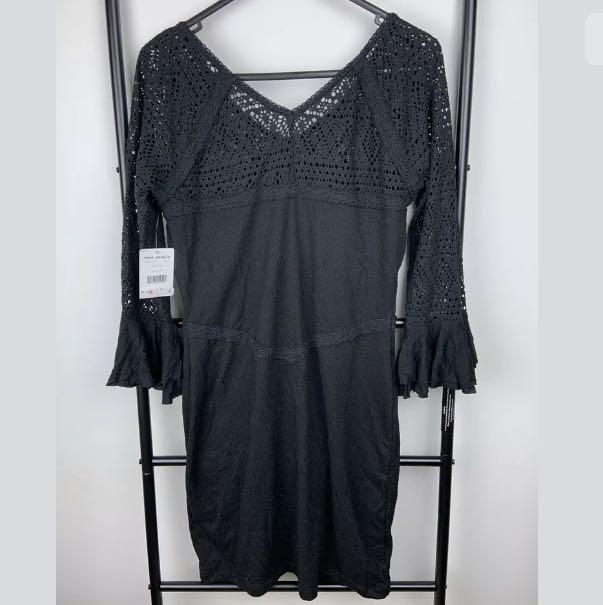 NWT Free People M Textured Lace Knit Bodycon Dress crochet black festival boho