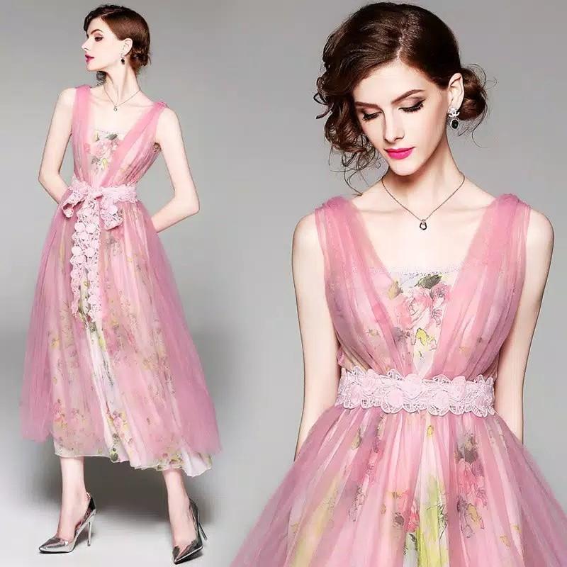 Premoum dress maxi brides maid bridal 2pcs gown gaun chiffon lebaran idulfitri
