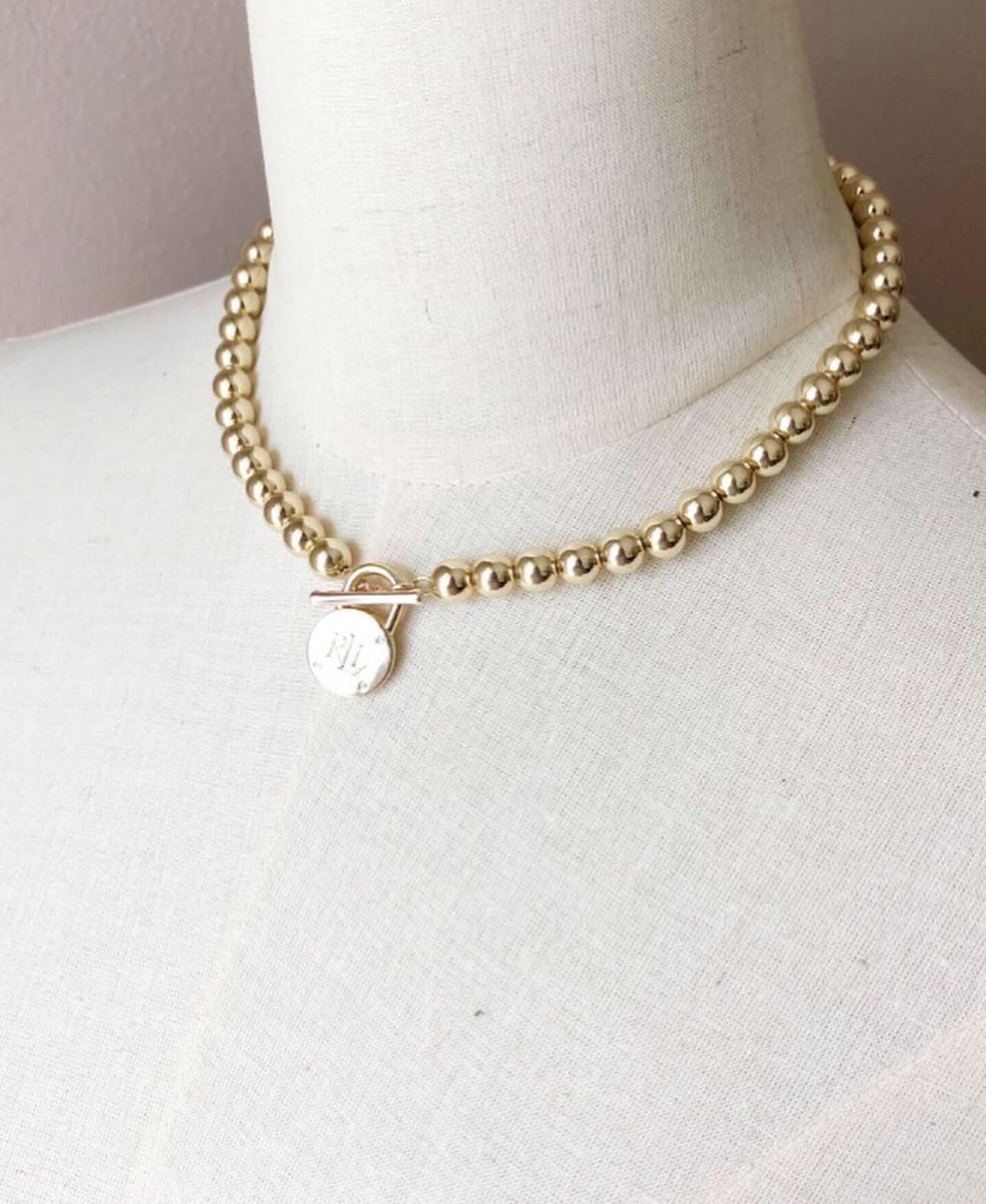 Ralph Lauren Beaded Logo Lock Necklace