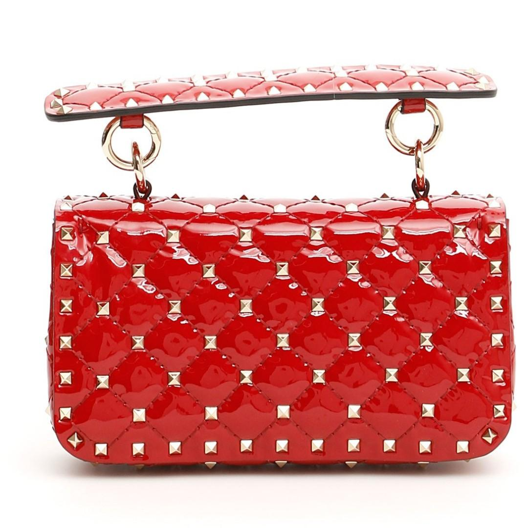 **FREE Delivery** (Direct Import from Europe) Valentino Patent Medium Rockstud Spike Bag (Cherry Red)