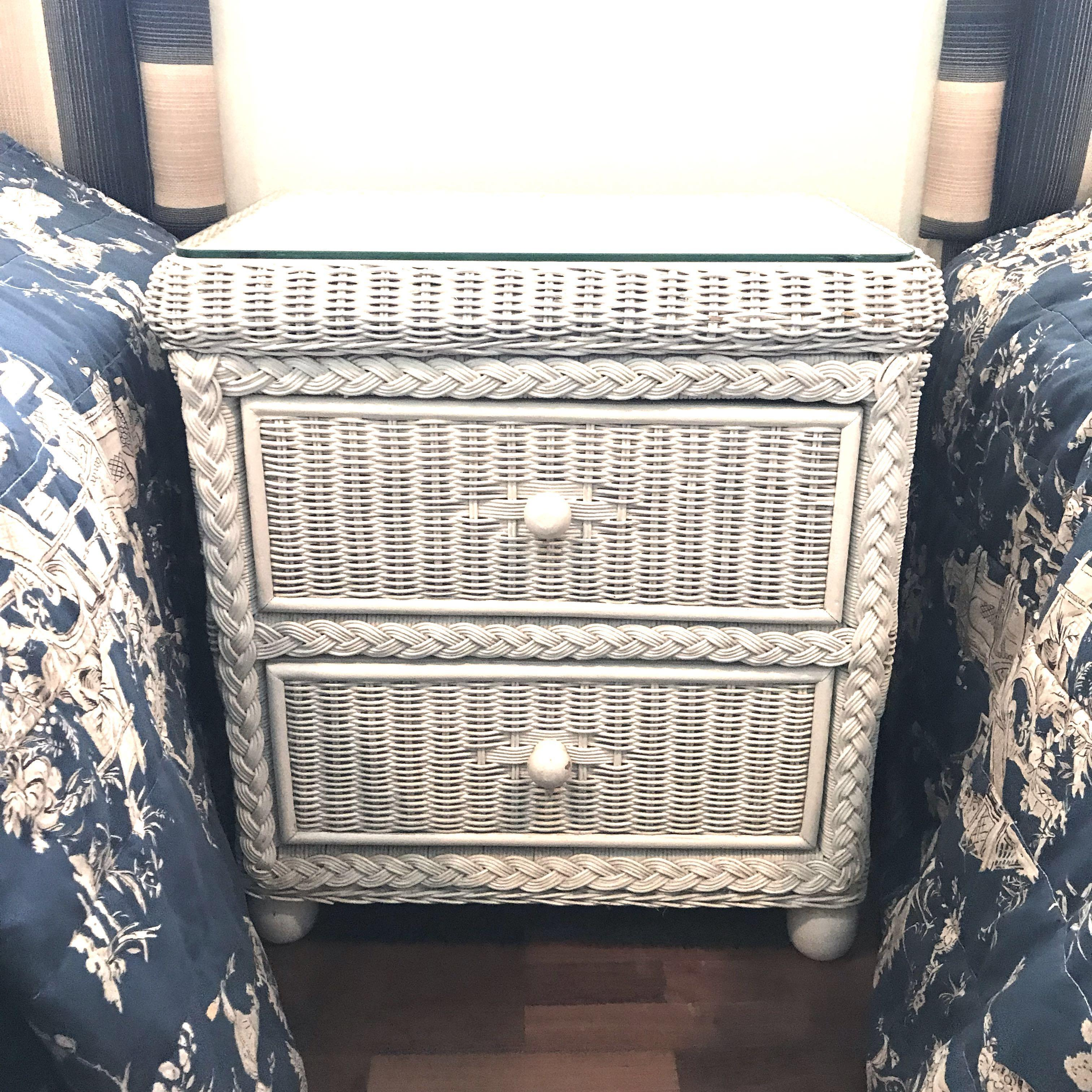 White Rattan Bedside Table With Glass Top And Drawer Retro Furniture Shelves Drawers On Carousell