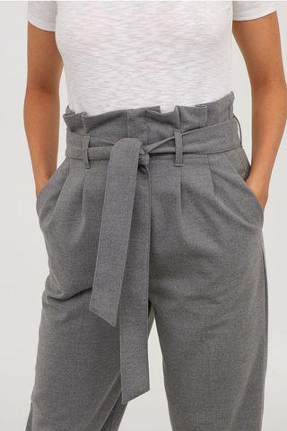 Paperbag pants grey/maroon