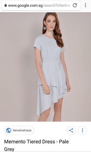 Memento Tiered Dress  - Pale Grey HVV