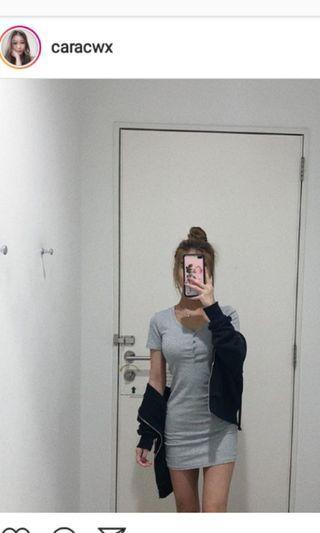 (BNIP)caracwx grey button down bodycon dress