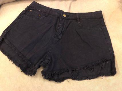 全新 黑色 短褲 大碼 高腰 2XL 黑褲 熱褲 牛仔短褲