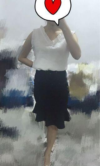 完美曲線絨質魚尾裙/黑/M