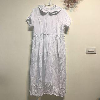 圓領白色洋裝
