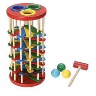 Mainan Edukasi Pukul Bola Kayu / Knock Ball / Mainan Anak