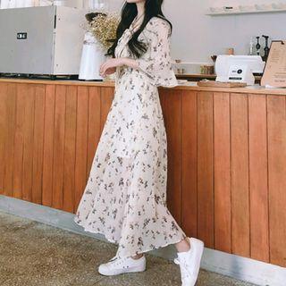 小清新喇叭袖碎花雪紡洋裝 / 韓國氣質連身裙連衣裙長裙 / 短袖荷葉袖韓妞打底裙 / 溫柔小姐姐長洋裝