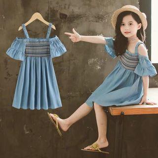 🚚 預購「120-160碼韓版民族風挖肩洋裝童裝」